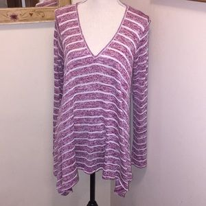 American Rag Co Knit Red Striped Tunic Sz L